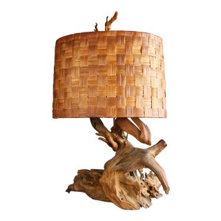 Driftwood Table Lamp with Woven Shade