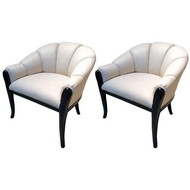 Image of Art Deco Barrel Back Lounge Chairs - A Pair