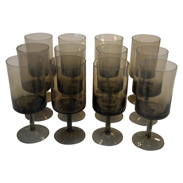 Mid-Century Smoke Glass Wine Glasses - Set of 12 - Image 1 of 8