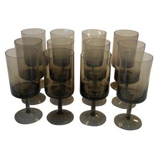 Mid-Century Smoke Glass Wine Glasses - Set of 12