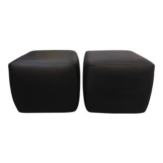 Room & Board Lind Black Leather Ottomans - A Pair
