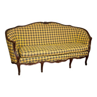 Louis XV-Style Settee in Ralph Lauren Plaid
