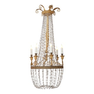 Six-Light Giltwood and Crystal Chandelier
