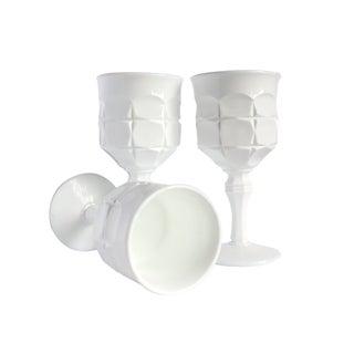 Vintage Milk White Goblets II - Set of 3