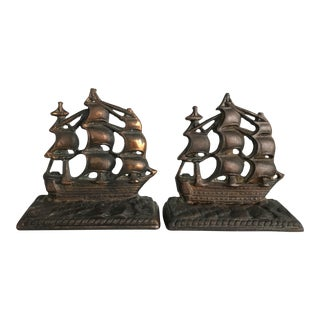 Vintage Nautical Ship Bookends - A Pair