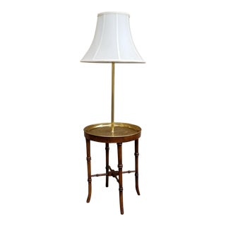 Faux Bamboo Wood and Etched Brass Table Floor Lamp
