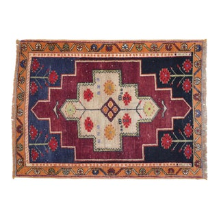 Turkish Distressed Area Rug Hand Knotted Wool Oushak Rug - 2'8'' x 3'7''
