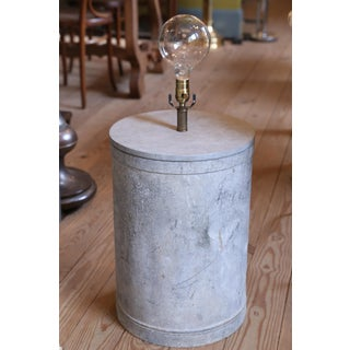 GALVANIZED BARREL SHAPED EUROPEAN ONE OF A KIND TABLE LAMP