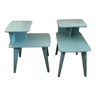 A Great Pair of Custom Retro Duck Egg Blue Mid Century Modern Custom Designed End Tables!
