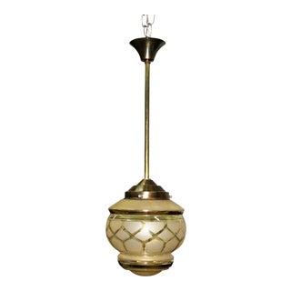 Circa 1940s French Art Deco One Light Globe Chandelier Lanterne