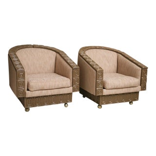 Pair of Romweber Limed Oak Revolving Club Chairs