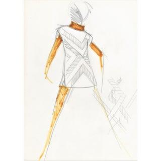 1960s Original Balmain Dress Fashion Illustration