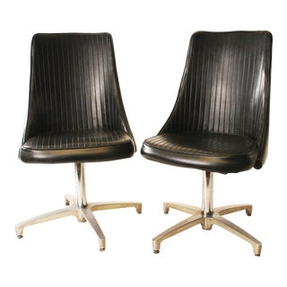 Chromcraft Mid-Century Black Vinyl Dining Chairs - A Pair