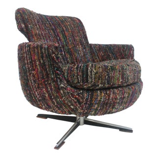 Vintage Swivel Chrome Lounge Accent Chair