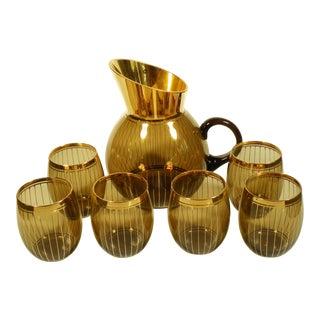 German Smoked Glass & Gold Bar Set