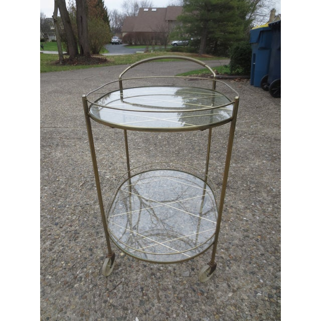 Image of Vintage 1970s Brass & Glass Rolling Bar Cart