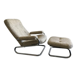 Mid Century modern Tubular Chrome Lounge Chair and Ottoman