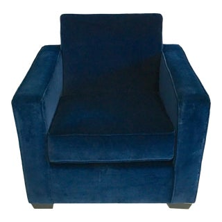 Ralph Lauren Art Deco Style Blue Velvet Club Chair