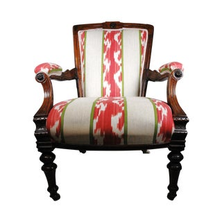 Reupholstered Striped Armchair
