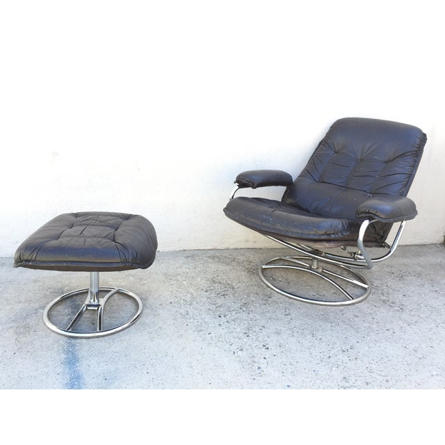 Mid-Century Italian Leather Chair and Ottoman - Image 10 of 11