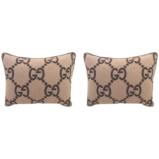 Image of Gucci Brown Cashmere Throw Pillows - Single