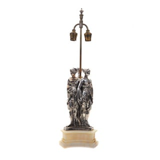 "Antique Silver Figural ""Three Graces"" Table Lamp"
