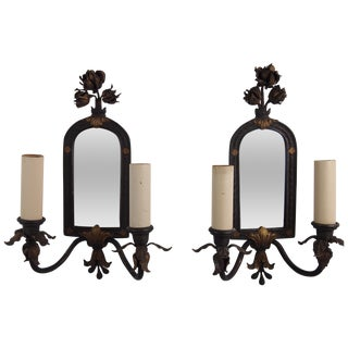 Bronze Mirror Back Wall Sconces - a Pair
