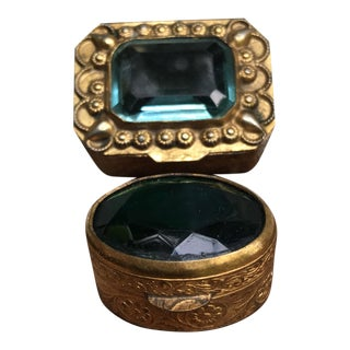 Filigree Brass & Crystal Stone Pill Boxes - A Pair