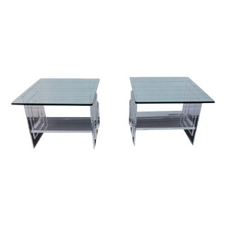 Mid-Century Lucite Side Tables - A Pair
