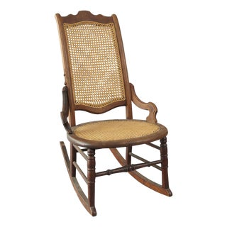 American 19th-Century Wood and Cane Rocker