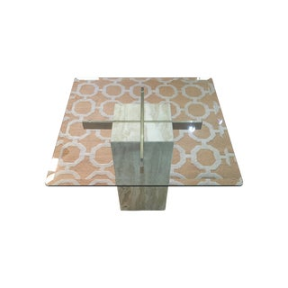 Artid Vintage Travertine & Glass Side Table