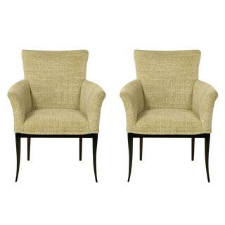 Pair Crepe Wool Clad Saber Leg Lounge Chairs