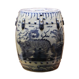 Chinese Blue & White Porcelain Kirin Round Garden Stool
