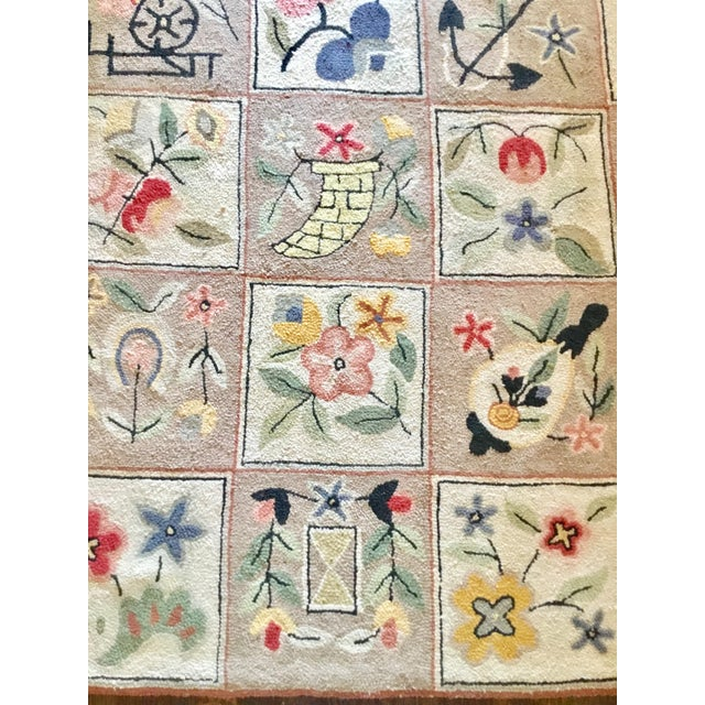 Antique Arts & Crafts Hooked Rug - 5′10″ × 9′ - Image 6 of 6