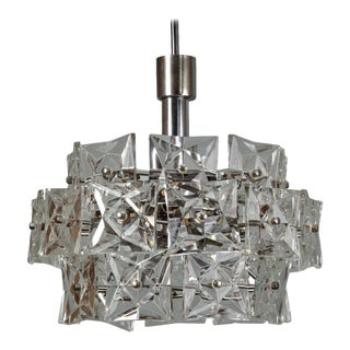 Mid-Century Kinkeldey Three-Tier Faceted Crystal Pendant Chandelier