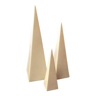 Graduated Architectural Ceramic Pyramids - Set of 3