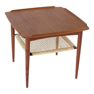 Poul Jensen for Selig Square Side Table With Cane Shelf