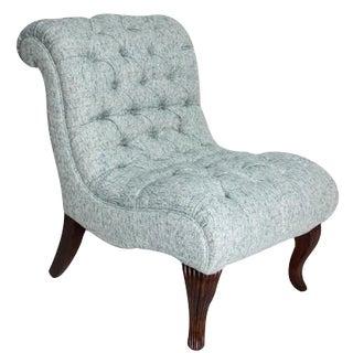 Blue Tweed Slipper Chair