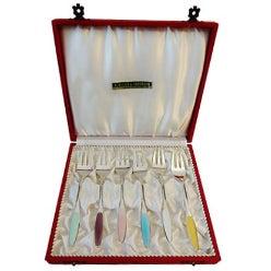 Enameled Sterling Silver Desert Forks