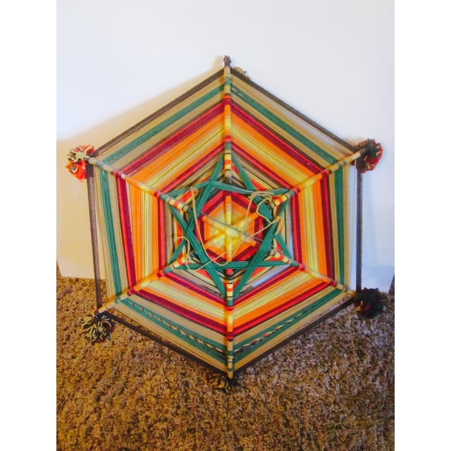 Boho Handwoven Mandala Wool Wall Hanging - Image 4 of 6