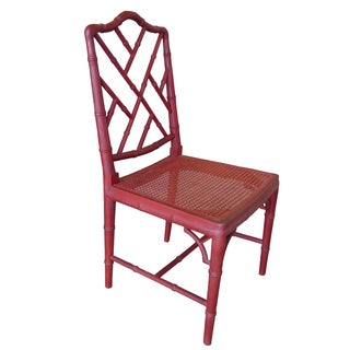 Red Faux-Bamboo Chair