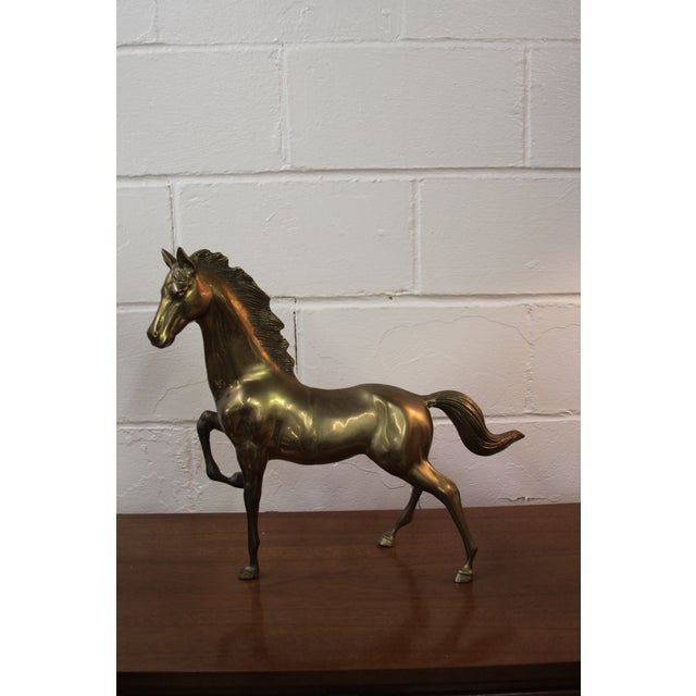 Large Neoclassical Brass Horse Statue - Image 2 of 8