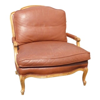 Vintage Sam Moore French Country Style Brown Leather Carved Wood Accent Chair