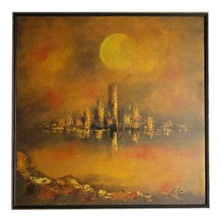 R. Styles Sunset Skyline Painting