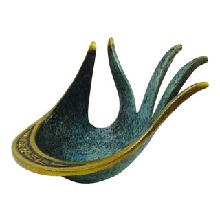 Modernist Brass Hand Sculptural Form Dish