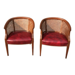 Leather & Cane Vintage Accent Club Chairs - Pair