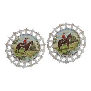 Royal Canada Hand-Painted Mounties Plates - A Pair