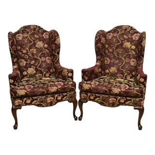 Ethan Allen Queen Anne Upholstered Fireside Wing Chairs - A Pair