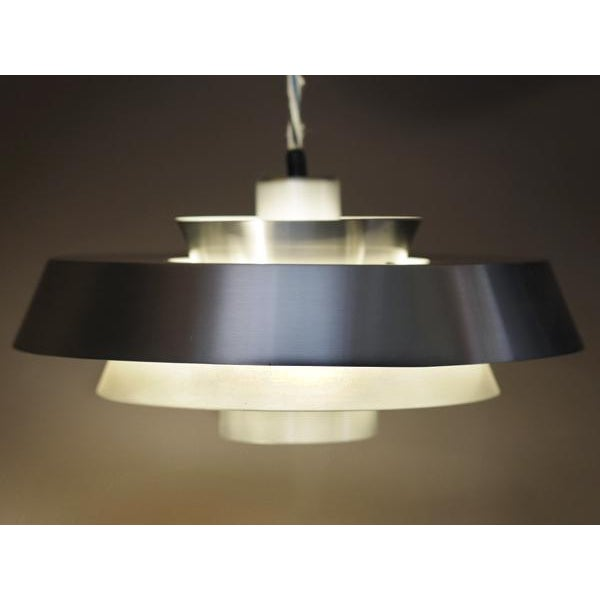 Danish Aluminum Pendent Lamp by Jo Hammerborg, Pair - Image 2 of 8