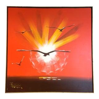 Mid Century Modern Orange Sunset Canvas Painting